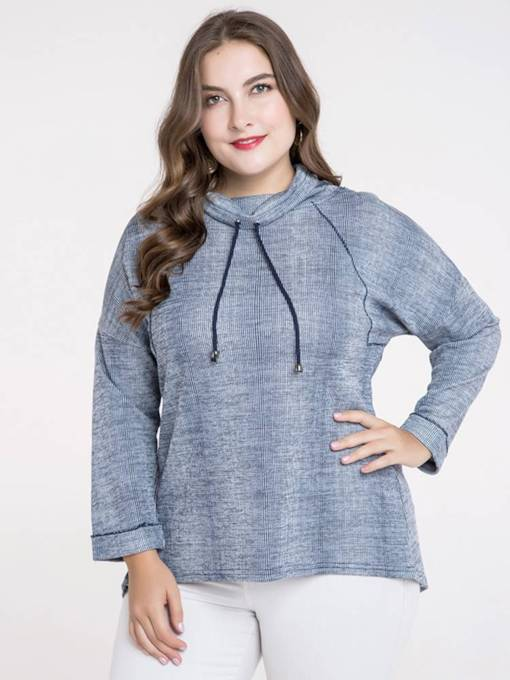 High Collar Drawstring Plus Size Women's Sweatshirt