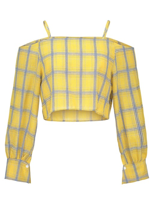 Straps Off Shoulder Lantern Sleeve Plaid Women's Blouse
