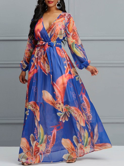 V-Neck Print Long Sleeve Pullover Women's Maxi Dress