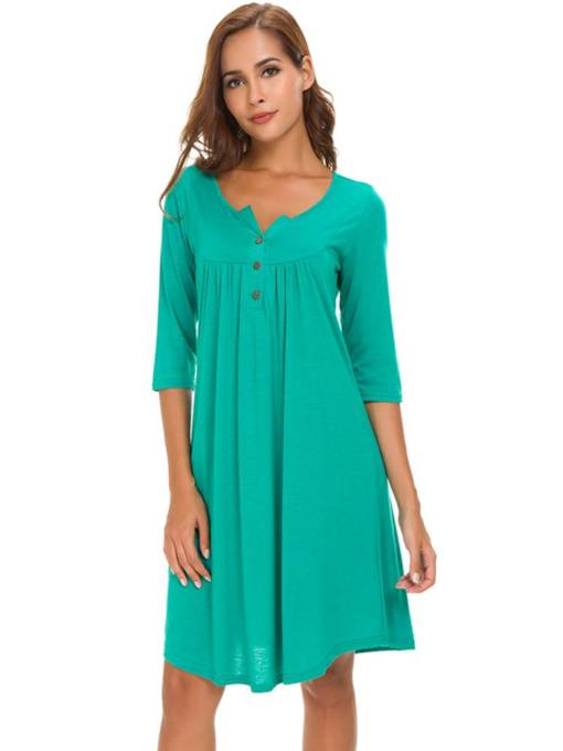 Round Neck Casual Button Day Dress