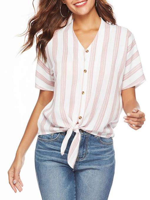 Tie Wasit Stripe V-Neck Single-Breasted Women's Shirt