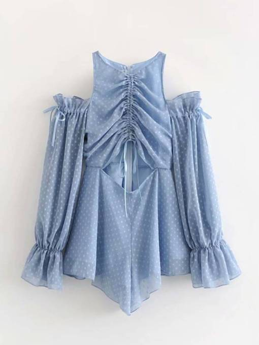 Casual Polka Dots Hollow Lace-Up Short Women's Romper