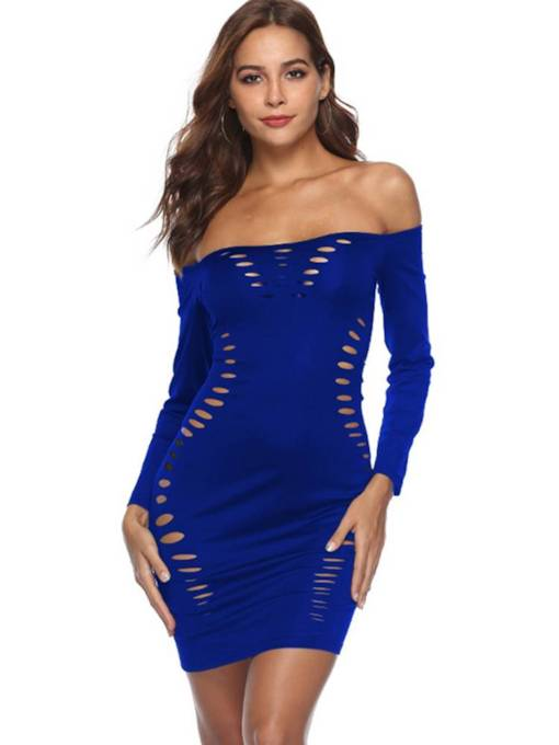 Off Shoulder Long Sleeve Hollow Sexy Dress