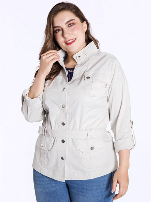 Plus Size Lace Up Roll Tab Sleeve Women's Trench Coat
