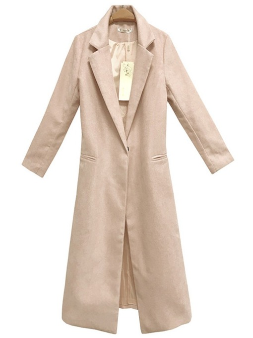 Notched Lapel Solid Color Women's Trench Coat