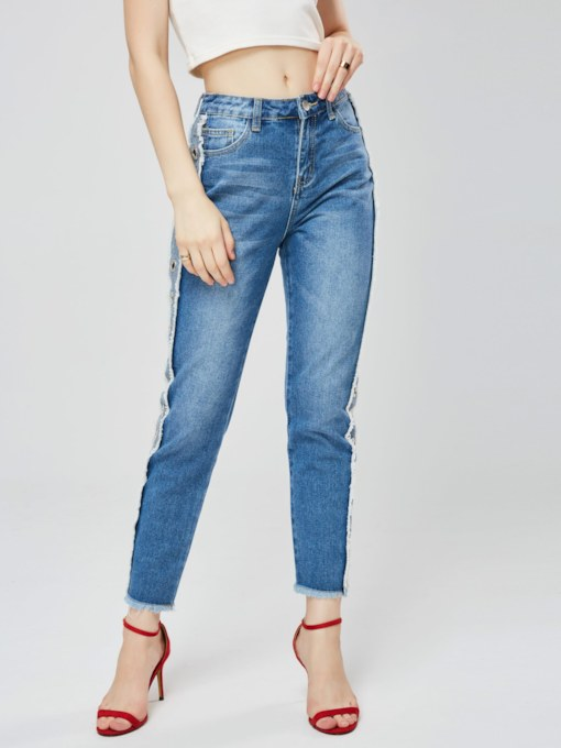 Hollow Ripped One Button Women's Cropped Jeans
