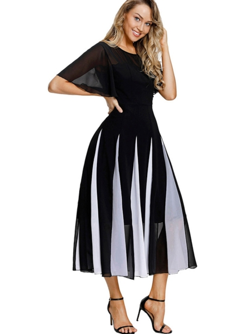 Round Neck Cap Shoulder Stripe Day Dress