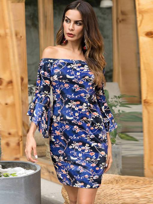 Off Shoulder Bell Sleeve Prints Bodycon Dress
