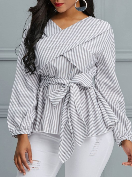 Stripe Lace-Up Long Sleeve Women's Blouse