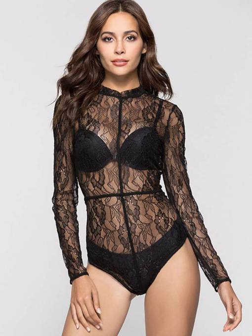 Long Sleeve Lace See Through Short Women's Romper