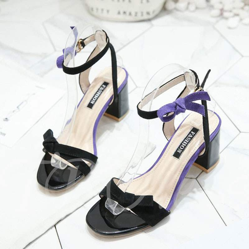 Buy Suede Color Block Open Toe Ankle Strap Ladylike Women's Sandals, Summer, 13364992 for $25.20 in TBDress store