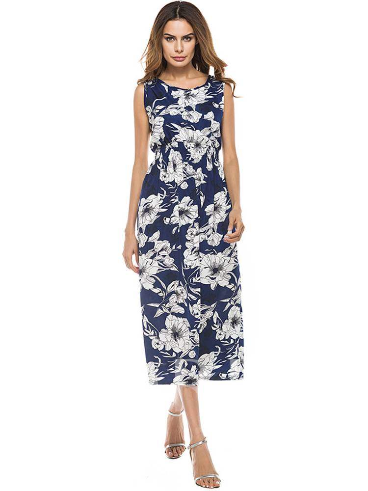 Buy Round Neck Floral Prints Sheath Dress, Summer, 13364538 for $13.97 in TBDress store