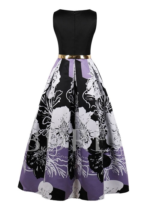Scoop Printed A-Line Evening dress