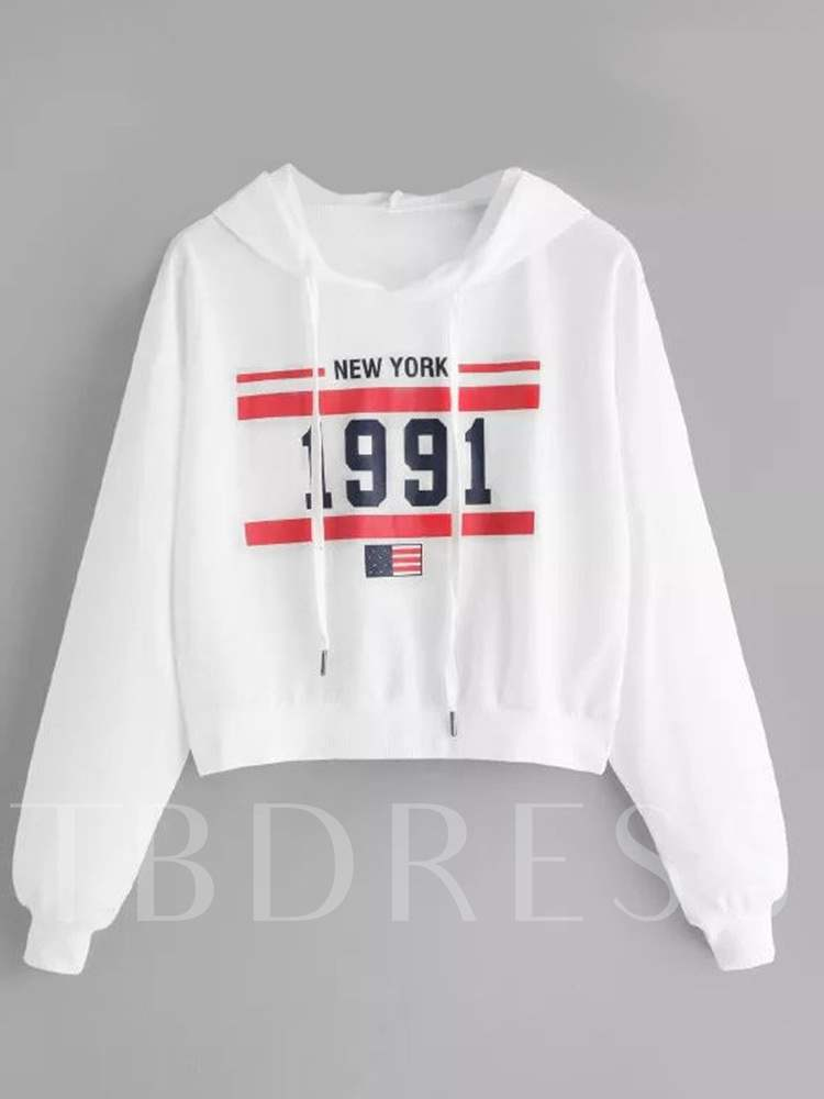 Buy Letter Print Long Sleeve Loose Fit Women's Hoodie, Spring,Fall, 13363513 for $9.19 in TBDress store