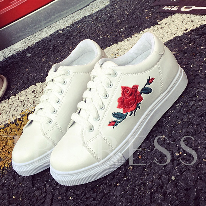 Lace-Up Floral Embroidery Platform Girlish Women's Sneaker