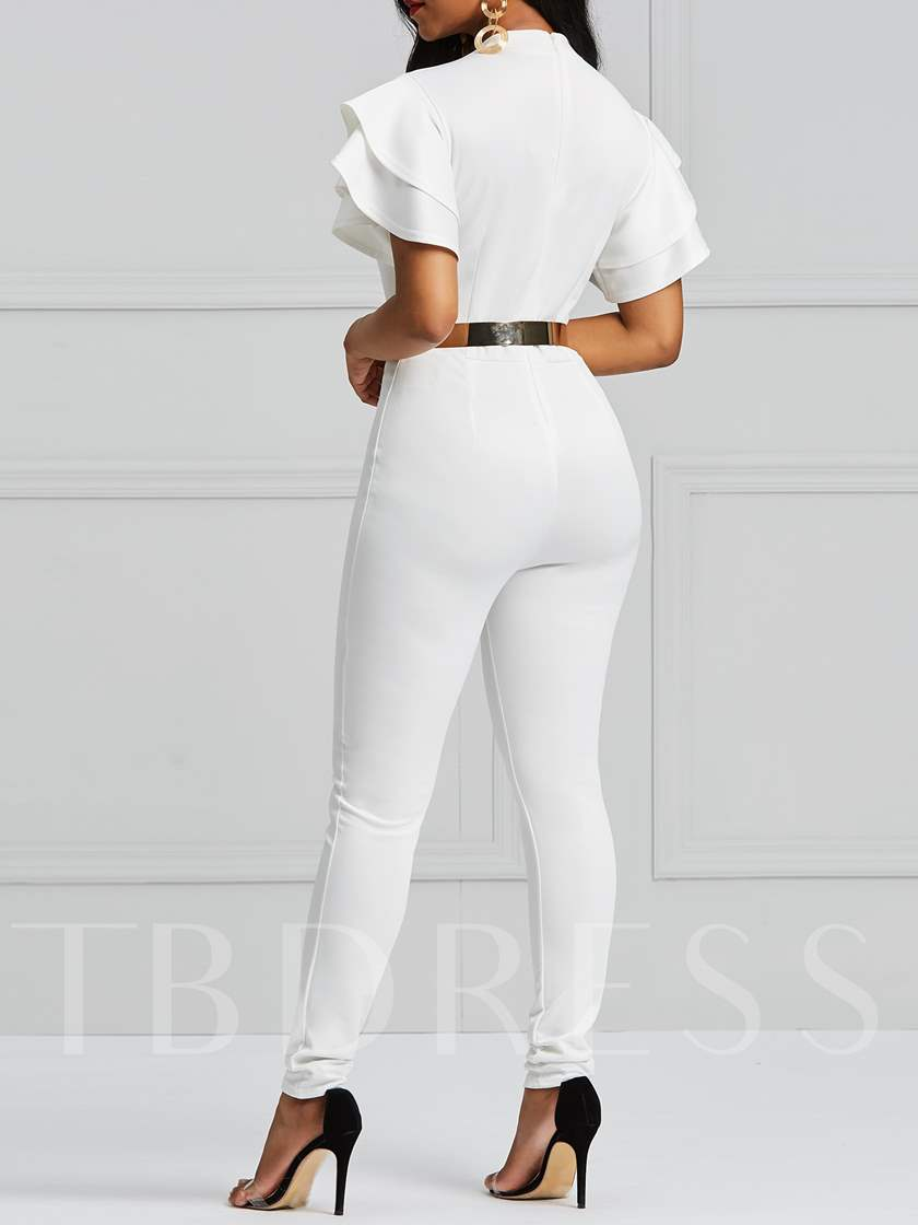 Full Length Plain Patchwork Pencil Pants Women's Jumpsuit