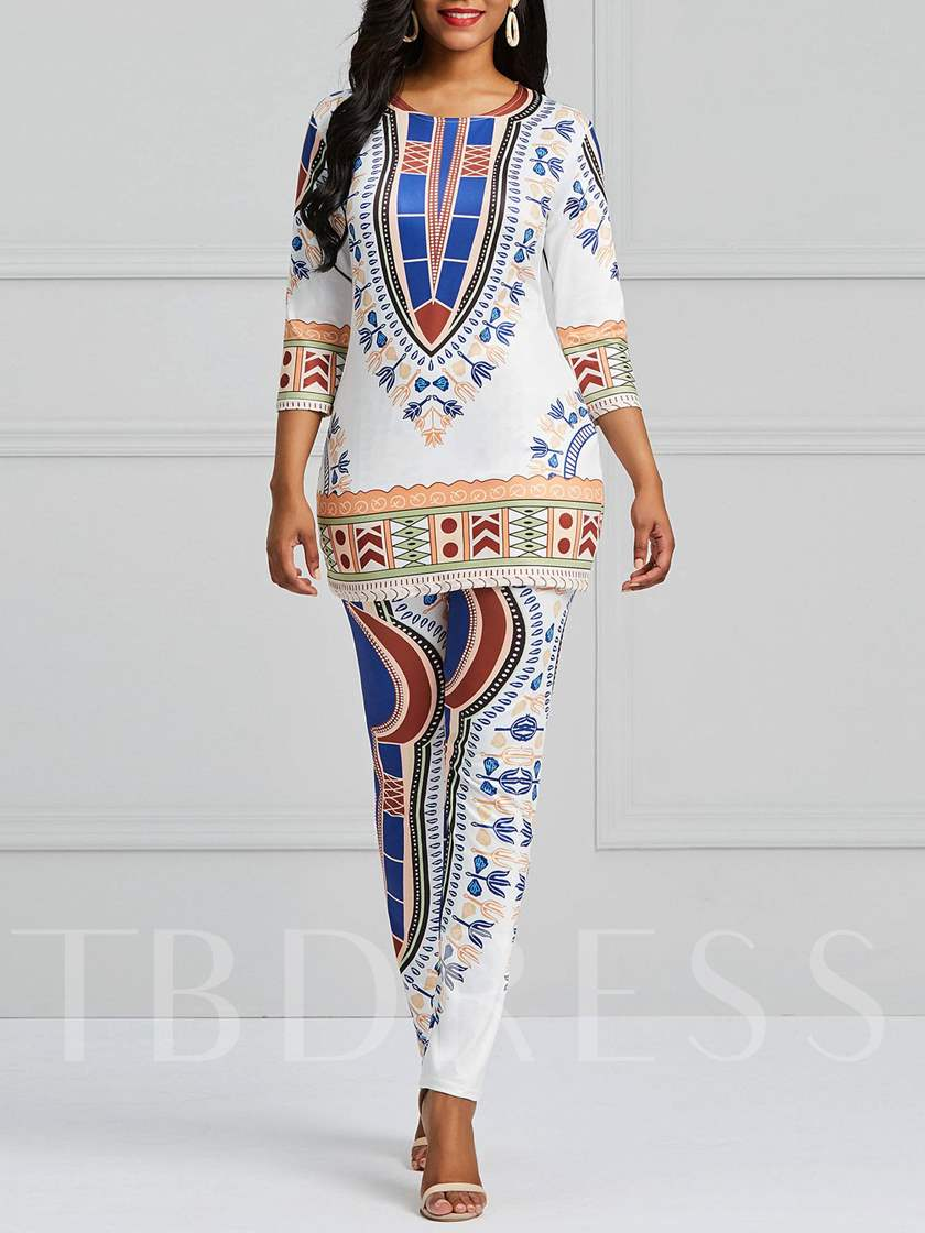 Dashiki African Print Round Neck Women's Two Piece Set