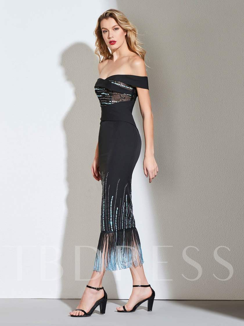 Sheath Off-the-Shoulder Beading Cocktail Dress