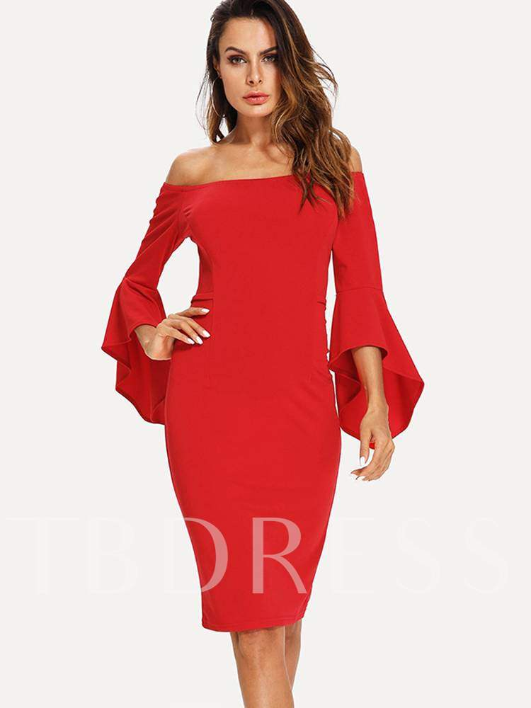 Buy Off Shoulder Bell Sleeve Bodycon Dress, Fall, 13364524 for $17.65 in TBDress store