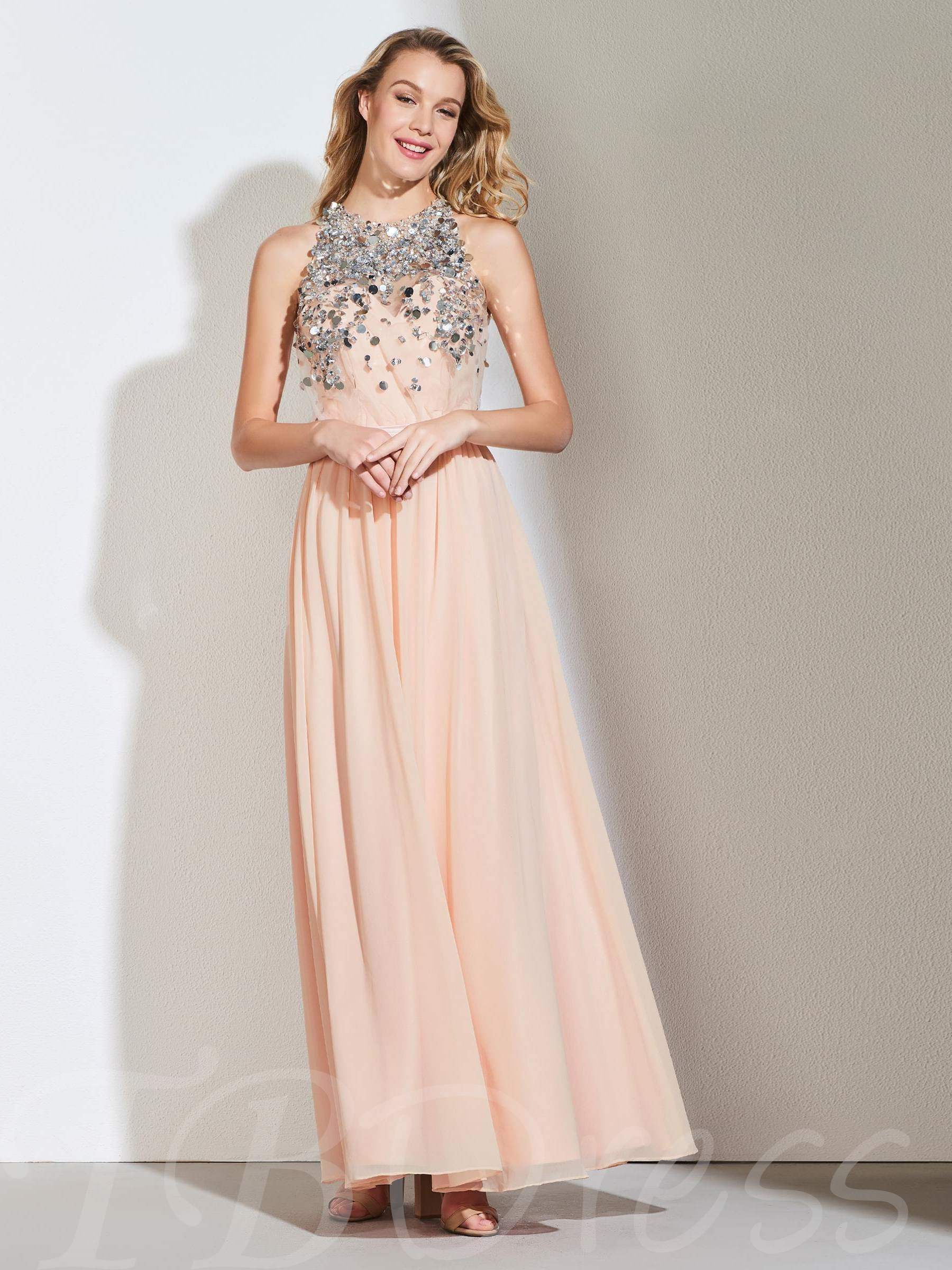 Buy A-Line Beading Halter Sequins Sashes Evening Dress, Spring,Summer,Fall,Winter, 13364669 for $154.86 in TBDress store