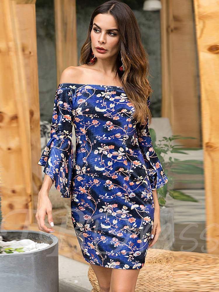 Buy Off Shoulder Bell Sleeve Prints Bodycon Dress, Fall, 13364526 for $17.28 in TBDress store