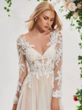 V-Neck Appliques Long Sleeve Wedding Dress