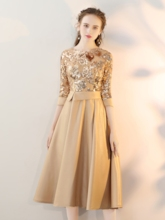 Sequins Appliques Tea-Length Prom Dress with Sleeves