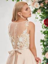 Illusion Neck Appliques Beading Wedding Dress