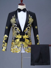 Embroidery Chinese Style Slim Men's Dress Suit