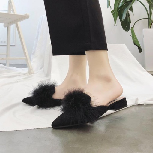 Suede Closed Toe Pompon Slip-On Women's Pointed Toe Mules