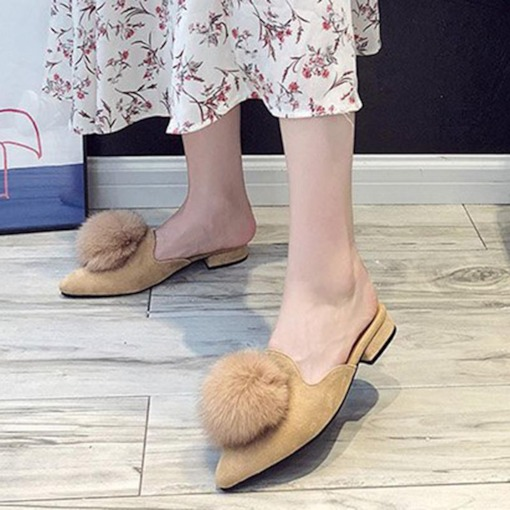 Pompon Closed Toe Suede Slip-On Women's Pointed Toe Mules