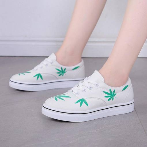 Lace-Up Round Toe Platform Plant Printed Canvas White Sneakers