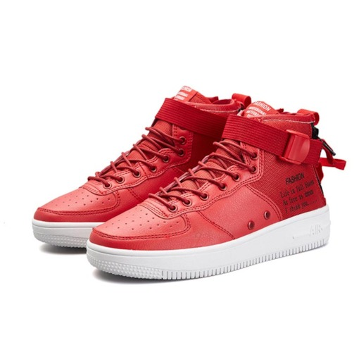Buckle Lace-Up Letter Patchwork High Top Men's Sneakers