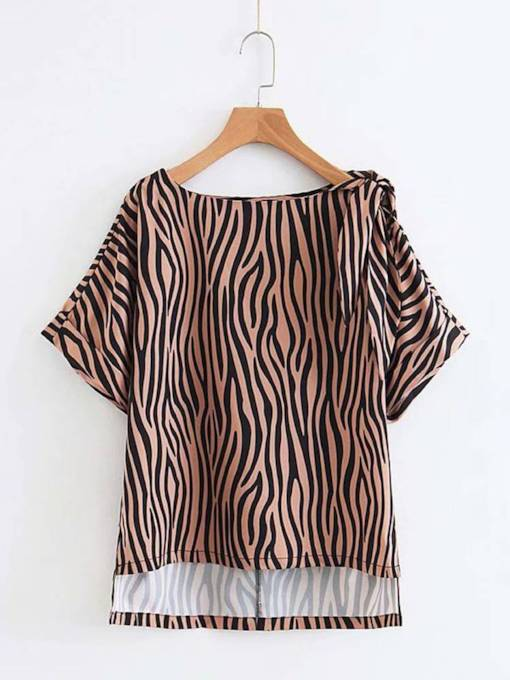 Asymmetric Bow Tie Shoulder Stripe Women's T-Shirt