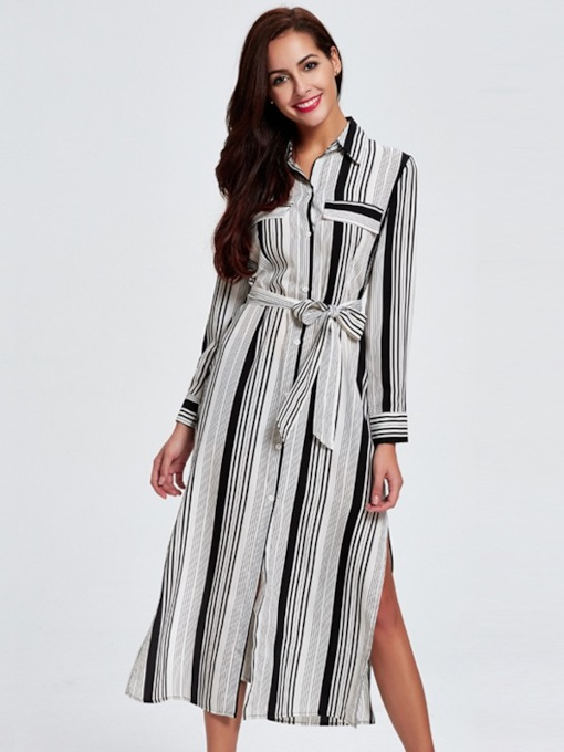 Long Sleeve Stripe Belt Day Dress