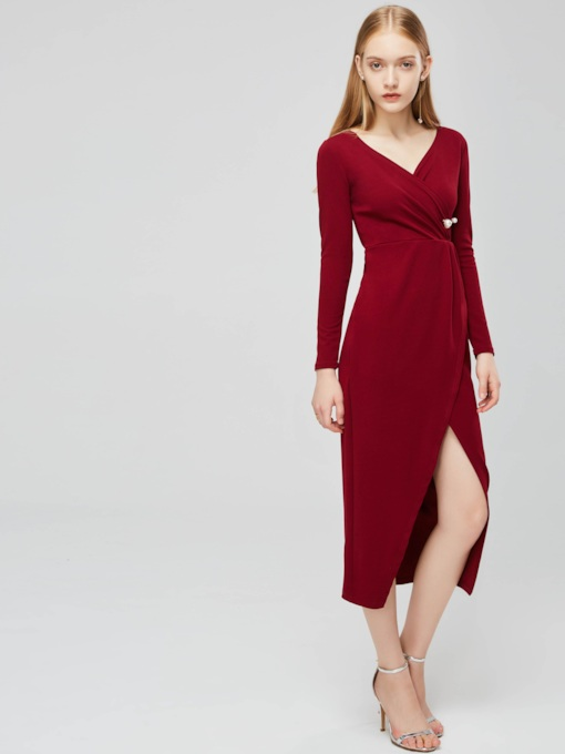 Long Sleeve V-Neck Women's Wrap Dress