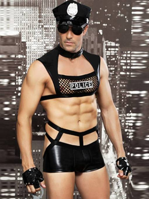 Men's Sexy Lingerie Night club Sleeveless Military Costume