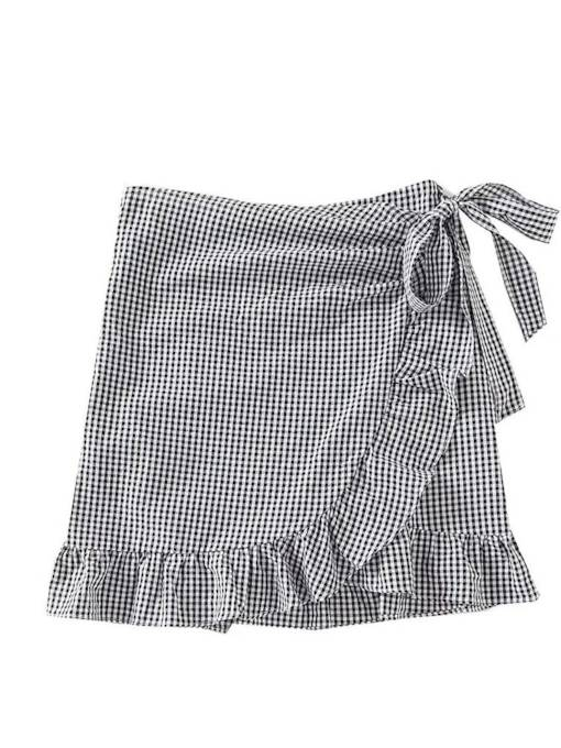 Gingham Self Belted Wrapped Women's Skirt