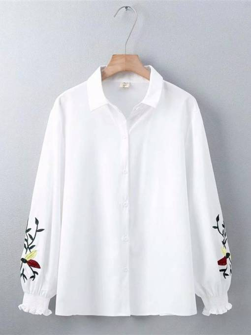 Lantern Sleeve Frill Floral Embroidery Women's Shirt