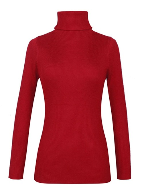 Plain High Collar Solid Color Women's Sweater