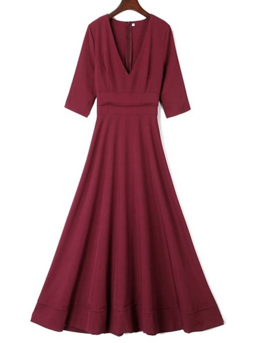 Half Sleeve Solid Color Women's Maxi Dress