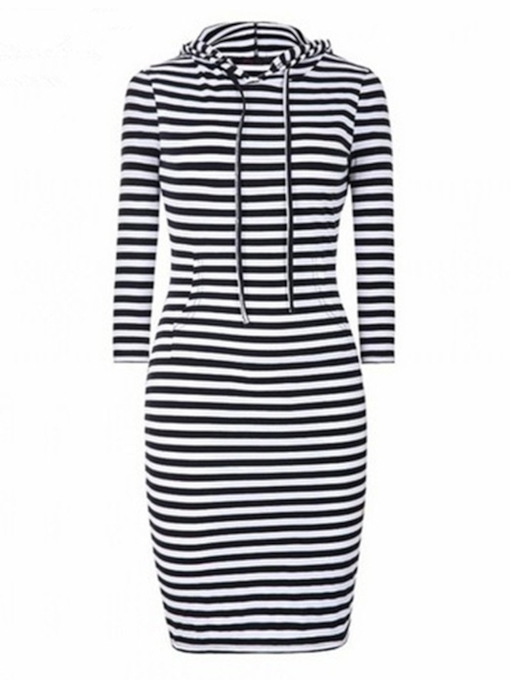 Long Sleeve Hood Stripe Bodycon Dress