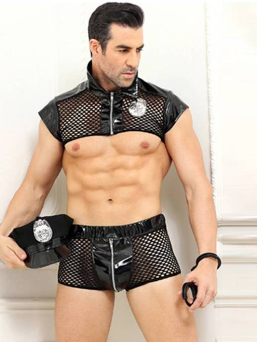 Men's Sexy Lingerie Zipper Fishnet Military Costume