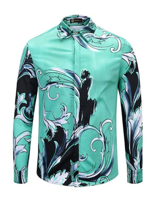 Sea Wave Print Leisure Men's Shirt