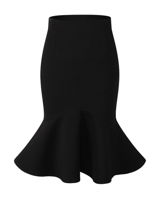 Bodycon Ruffled Knee Length Women's Skirt