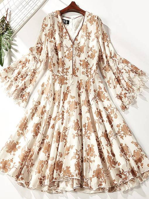 V-Neck Flare Sleeve Prints Day Dress