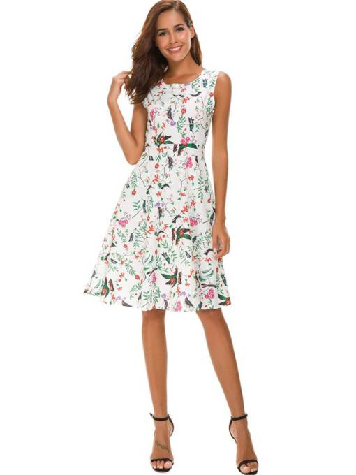 Round Neck Floral Prints A-Line Dress