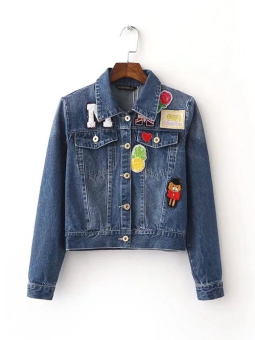 Patches Single-Breasted Denim Women's Jacket