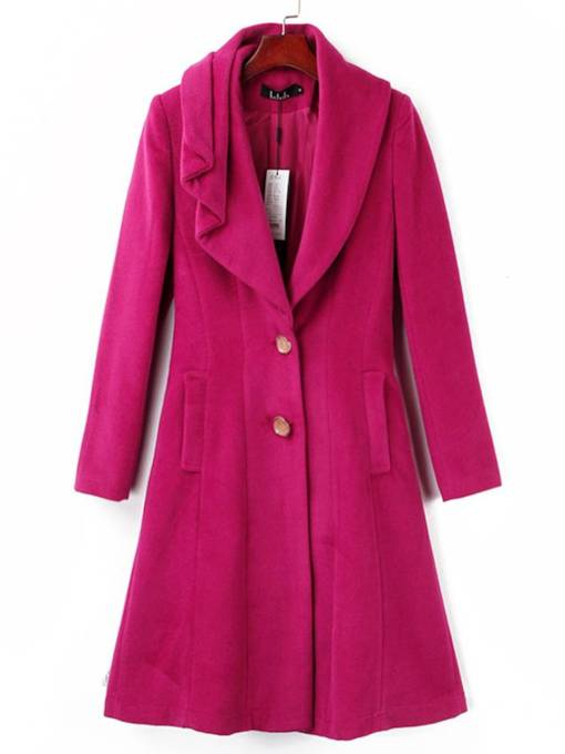 Slim Fit Double Pocket Buttton Down Women's Overcoat