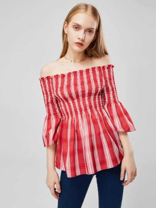 Off Shoulder High Wasit Stripe Flare Sleeve Women's Blouse